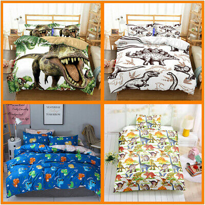 3D Jurassic Dinosaur Duvet Doona Quilt Cover Set Kids Bedding Single Double Size