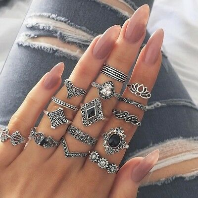 15Pcs/Set Retro Arrow Moon Midi Finger Knuckle Rings Boho Fashion Jewelry Gift