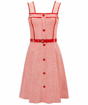 Joe Browns Womens Sleeveless Gingham Skater Dress with Detachable Belt Red