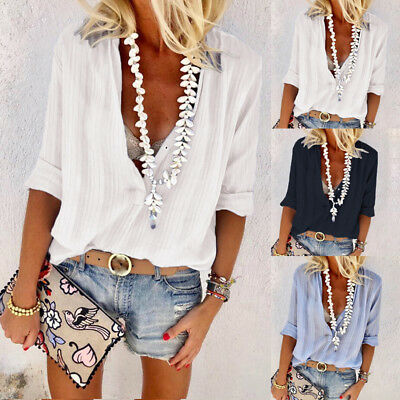 Women's Sexy Blouse Soft Long Sleeve T-shirt V Neck Summer Casual Loose Tops New