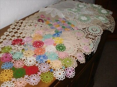 Hand crochet vintage mats, over 10 all in very good condition some unusual.