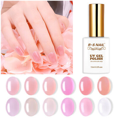 RS Nail Gel Nail Polish UV LED Varnish Soak Off Semitransparent Gel Colour 15ml