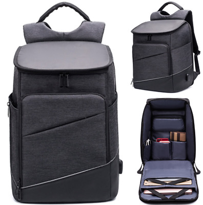 Mens Black Anti-theft Waterproof Backpack Multi-Function Outdoor Business Bag