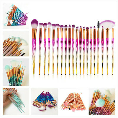 UK 20x Unicorn Diamond Make-up Brushes Foundation Eyeshadow Lip Powder Tools Set