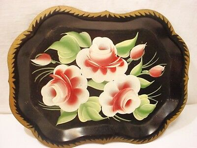 Vtg Metal Black Tole Snack Tray Pink Roses Gold Trim 9.5x7 Hand painted Quikship