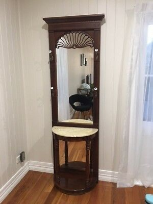 Hall Stand - Marble top, full length mirror, and ceramic hat hooks