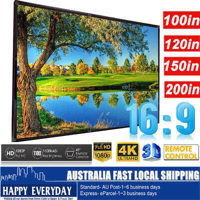 "100/120/150/200"" Projector Screen 16:9 HD Home Theatre In/Outdoor Projection"