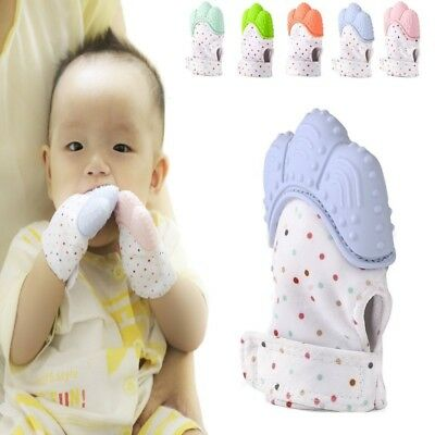Silicone Baby Soft Gel Teething Mitten Mitts Candy Wrapper Sound Gloves Toy Gift