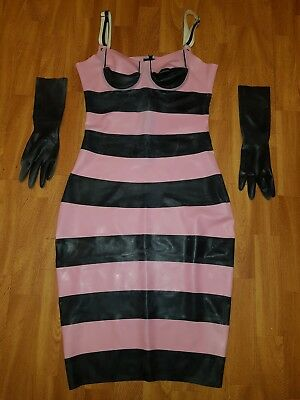 Neues 100% Latex Rubber Gummi Damen Kleid Dress Mini Gr M Schwarz/Rosa NEU