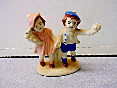 """Vintage antique porcelain Boy & Girl with Puppy and  l Figurine   4"""" tall Japan?"""