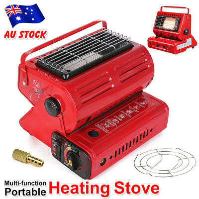 Portable Butane Gas Heater Camping Camp Tent Outdoor Camper Survival Heat Red
