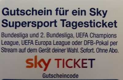 Sky Supersport Tagesticket Gutschein Bundesliga CL DFB Pokal 1 Tag