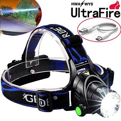 Tactical 30000LM Rechargeable T6 LED Headlamp 18650 Headlight Head Lamp Torch UK
