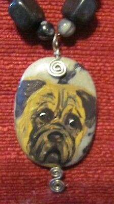 Bullmastiff hand painted on oval, hand wire wrapped pendant/bead/necklace