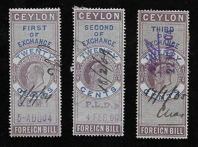 L803 Ceylon Revenue Foreign Bill Kevii 20 Cents Set Of 3 First Second & Third