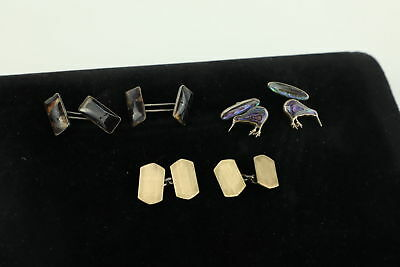 3 Vintage .925 STERLING SILVER Cuff-Links Inc. Gold On Silver, Abalone Shell 23g