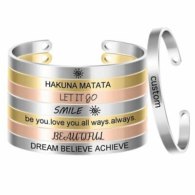 Stainless Steel Personalized DIY Custom Letter Name Cuff Bracelet Bangle Jewelry