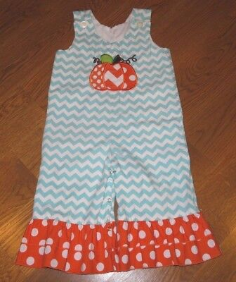 LOLLY WOLLY DOODLE Blue/White CHEVRON STRIPE Fall PUMPKIN Romper Outfit GIRL 2T