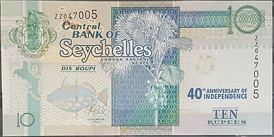SEYCHELLES 2013 banknote 10 Rupees UNC - Very Rare Replacement Note Turtle bird