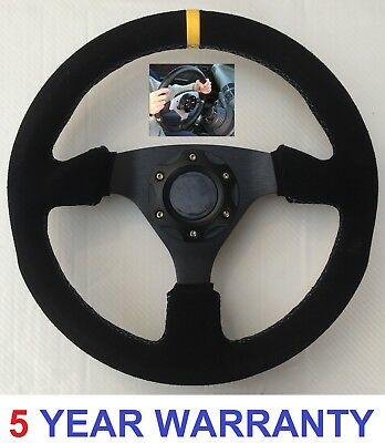 Suede Snap Off Steering Wheel And Boss Kit Hub Fits Mini Cooper 2002 - 2012 One