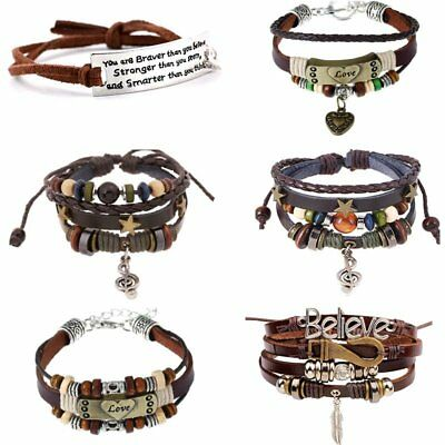 Womens Men Punk LOVE Leather Bracelet Letter Feather Bangle Jewellery Gift Party