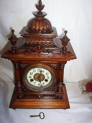 Lovely Black Forest H.a.c. Time And Strike Bracket,mantle Clock Runs For 14 Days
