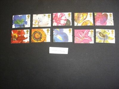 1997 used GB Commemorative Stamps 'Flower Paintings' Greetings SG1955-SG1964