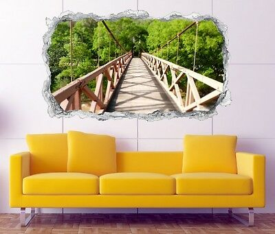 3D Mural Tattoo Suspension Bridge Natural Wood Wall Sticker Breakthrough 11N315