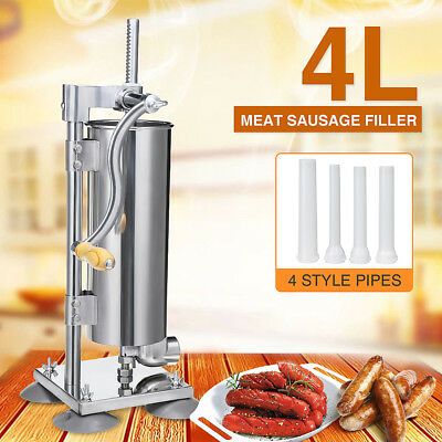 4L Stainless Steel Manual Vertical Sausage Stuffer Sausage Filler Maker Machine