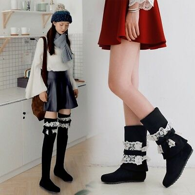 Womens Girls Lolita Faux Suede Removeable Lace Bow Tie Over Knee Boots Shoes esk