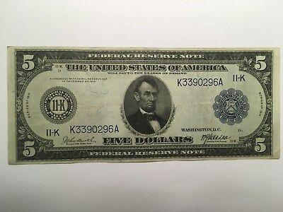 1914 $5 Bill Circulated Abraham Lincoln Federal Reserve Note