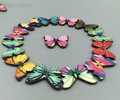 7EE2 50Pcs Mixed Butterfly Phantom Sewing Buttons 2 Holes Scrapbooking Craft