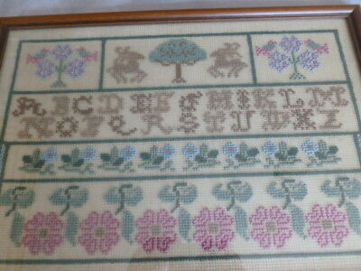 Handmade fine v pretty embroidery tapestry sampler - quote letters flowers XC