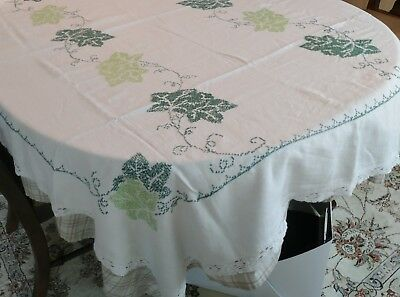"""Vintage Hand Embroidered Ivy Green Tablecloth 72"""" x 57"""""""
