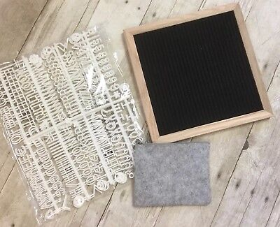 Changeable Black Felt Letter Board 10x10 Inches | 340 White Letters, Numbers, &