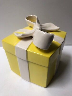Vintage Fitz & Floyd FF Yellow Gift Present Box with White Bow Trinket and Ring