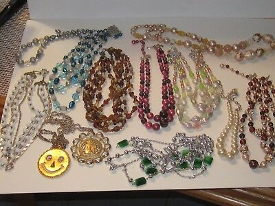 Vintage Lot Of 12 Beaded & Gold Tone Costume Necklaces From An Estate Auction!