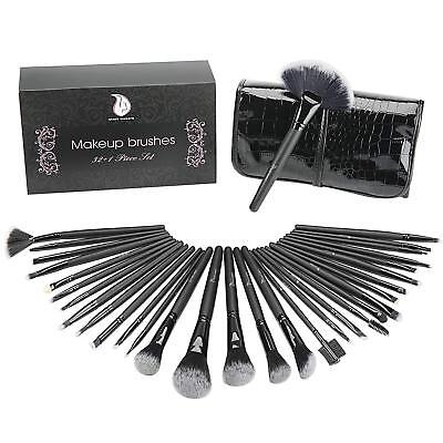 Set 32 Pennelli Make Up Professionale Vegane Legno Trucco Cosmetica + Custodia