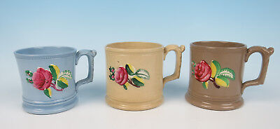 3 Antique Staffordshire Relief Molded Mugs Cup Rose Flowers English Pottery