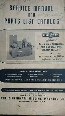 cincinnati centerless grinder service manual & parts catalog LO& LL #2&3