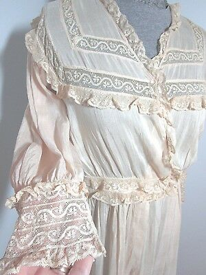 Edwardian Vintage French Val Lace Silk/Cotton Robe, Wrapper