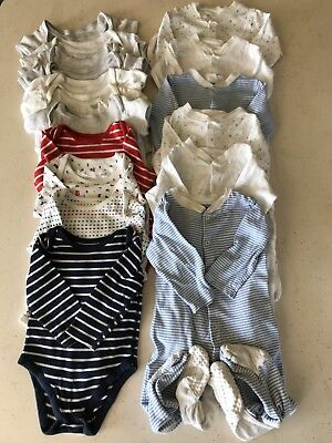 M&SLong& Short Sleeve Vests (11) and baby gros (6) aged12-18 Months