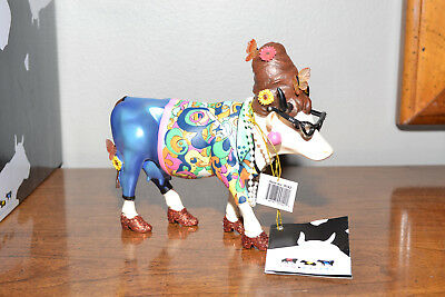 """NEW WITH BOX Cow Parade """"Beehive Bovine"""" cow figurine, glasses, pearls"""