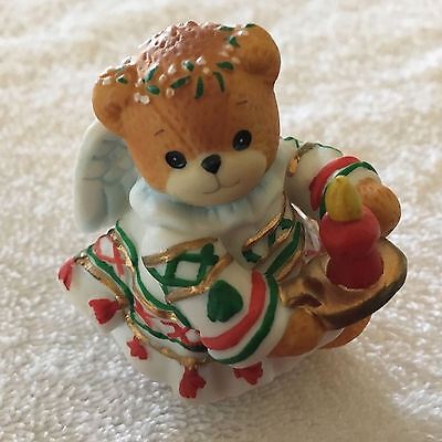 Lucy & Me Christmas Holiday Angel Bear With Wings & Candle Lucy Rigg ENESCO 1994