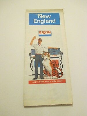 Vintage 1982 EXXON New England Gas Service Station Road State Travel Map
