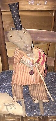 Americana Primitive Uncle Sam Doll, Wall Hanger, Shelf Sitter