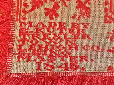 1845 Antique Woven COVERLET by S. KUTER  Pennsylvania