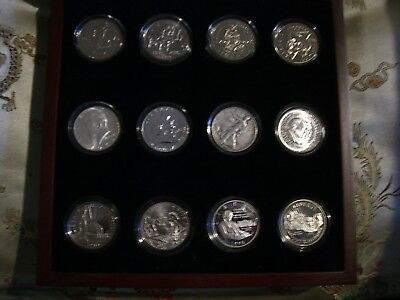 Half Dollar Lot 12 Coins 5-Silver 7-Commemorative In Wood Box