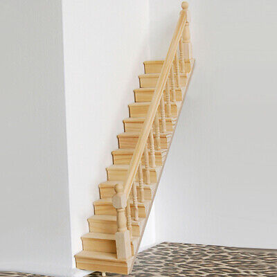 Baoblaze Dollhouse Wooden Staircase Stair Step Right Handrail Assembled