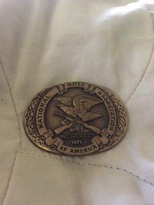 Nra Solid Brass Collectors 1987 Belt Buckle